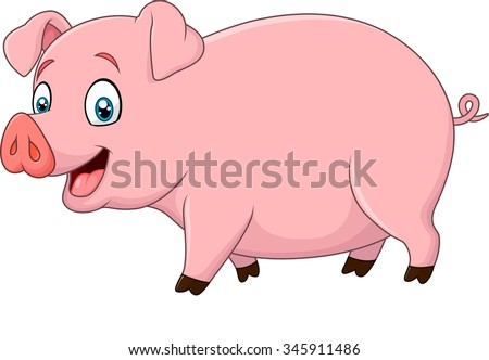 Cartoon happy pig isolated on white background - stock vector