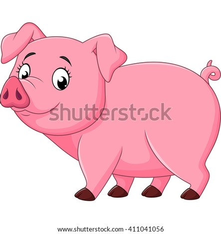 Cartoon happy pig isolated on white background