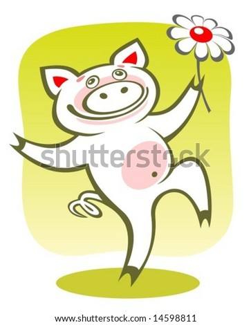Cartoon happy piggy with flower on a green background.