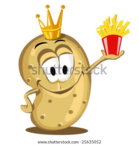 cartoon happy potato holding a pack of French fries - stock vector