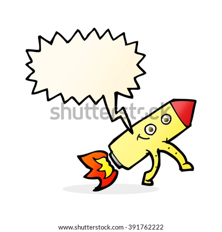 cartoon happy rocket with speech bubble