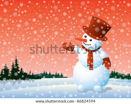 Cartoon happy snowman looking at the snowflake - stock vector