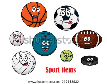 Cartoon happy sport ball characters with volleyball, rugby, tennis, bowling, soccer, basketball, baseball balls and ice hockey puck - stock vector