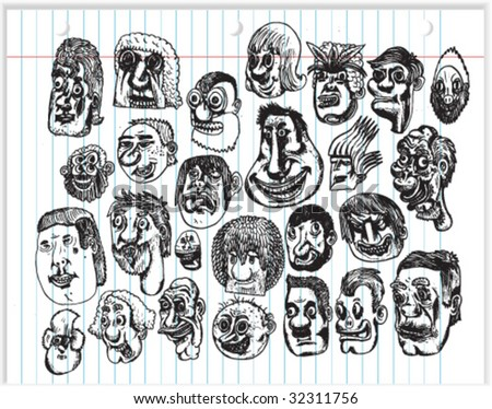 Cartoon Head Doodles - Vectors
