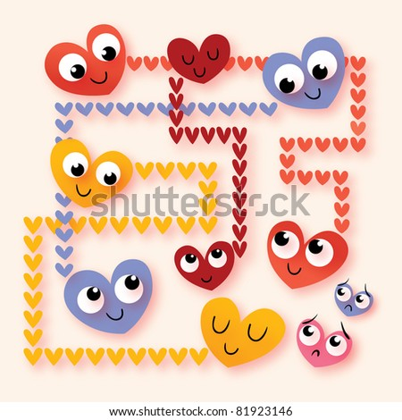 cartoon hearts in love - stock vector