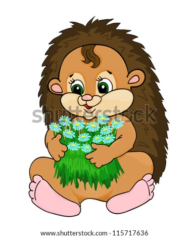 cartoon hedgehog, with isolation on a white background - stock vector