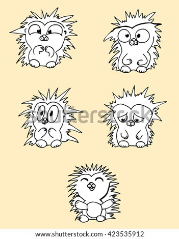 Cartoon hedgehogs. Stylized hedgehogs. Set. Line art. Black and white drawing by hand. Doodle. - stock vector
