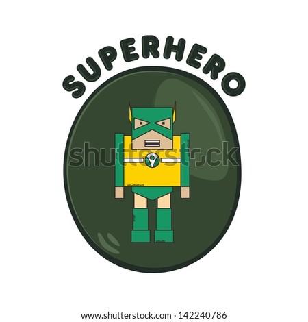 cartoon hero green bug - stock vector