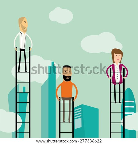 Cartoon hipster business people climbing up ladders - stock vector