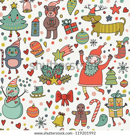 Cartoon holiday background. Cute funny illustration for children - stock vector
