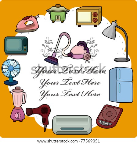 cartoon home appliance card - stock vector