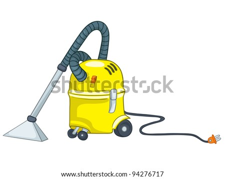 Cartoon Home Appliances Vacuum Isolated on White Background. Vector.