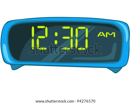 Cartoon Home Clock Isolated on White Background. Vector. - stock vector