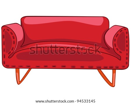 Cartoon Home Furniture Sofa Isolated on White Background. Vector.