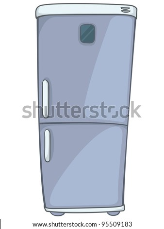 Cartoon Home Kitchen Refrigerator Isolated on White Background. Vector. - stock vector