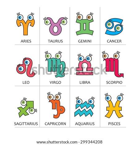Cartoon Horoscope Symbols Signs Zodiac Symbols Stock Vector Royalty
