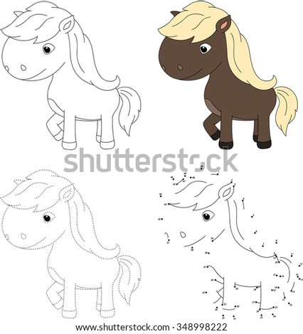Cartoon horse. Dot to dot educational game for kids. Vector illustration