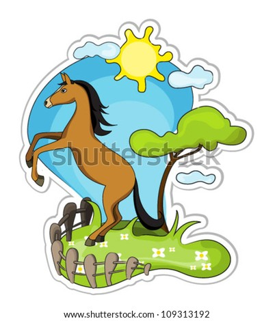 Cartoon horse rearing up in nature. vector illustration