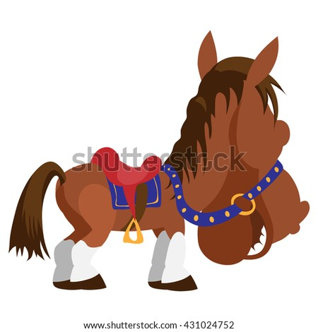 Cartoon horse smiling turning away. Vector illustration. - stock vector