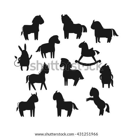 Cartoon horses black silhouette on white background and cartoon horse vector set. Cute cartoon horse black silhouette farm animals and cartoon horse happy mane. Black silhouette cartoon horses. - stock vector