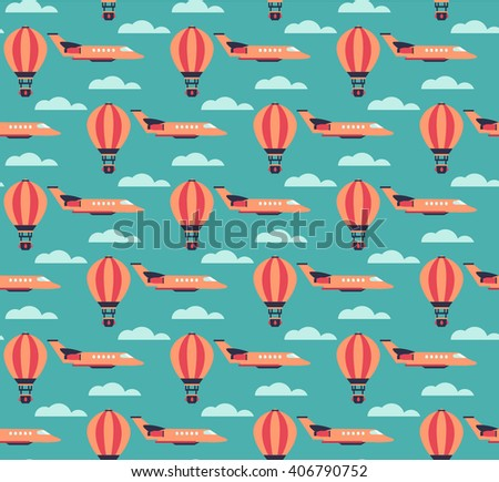Cartoon hot air balloons and planes seamless pattern in flat style - stock vector