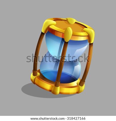 Cartoon hourglass. Vector illustration. - stock vector