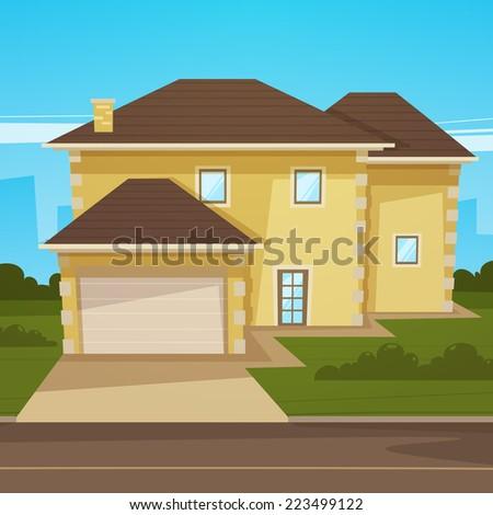 Cartoon House - stock vector