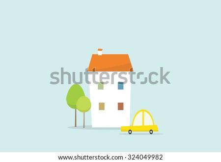 cartoon house and car - stock vector