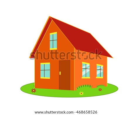 Cartoon house isolated on white vector illustration in flat style