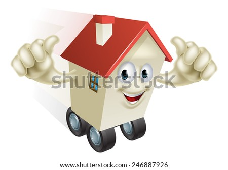 Cartoon House on Wheels holding up both hands with thumbs up gesture - stock vector