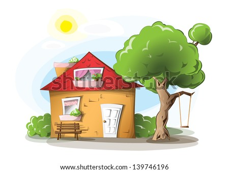 Cartoon house with tree, swing and a bench, on a sunny day, EPS 10, isolated - stock vector