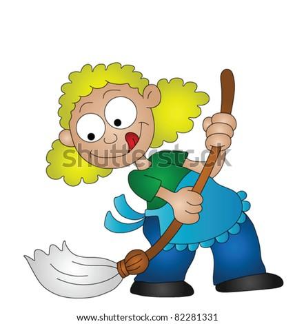 Cartoon housewife sweeping the floor with a broom - stock vector