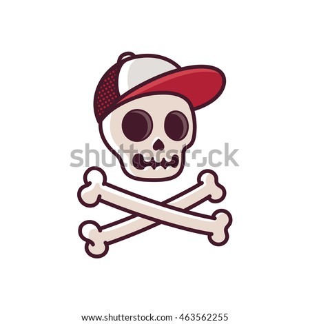 Cartoon human skull in baseball cap with crossbones cool comic style illustration