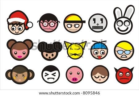 cartoon icons - stock vector