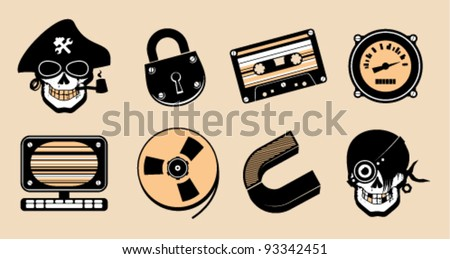 Cartoon icons in steampunk style. - stock vector