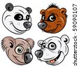Cartoon Icons of Bears, funky Panda, cute Brown Bear, silly Koala, angry Polar Bear - stock photo