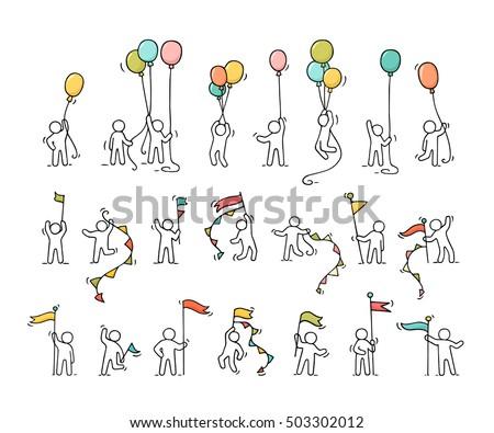 Cartoon Icons Set Sketch Little People 503302012