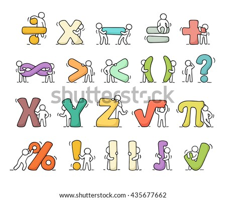 Cartoon icons set of sketch working little people with mathematical symbols. Doodle cute miniature scenes of workers with algebra signs. Hand drawn vector illustration for school design. - stock vector
