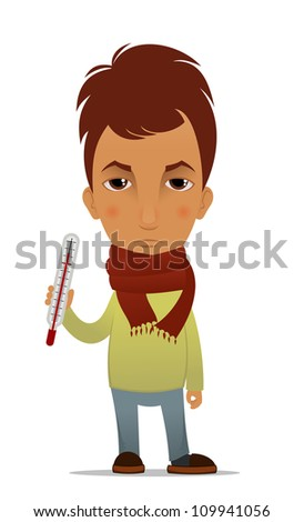Cartoon ill guy with a thermometer - stock vector