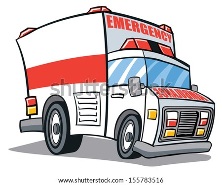 Cartoon illustrated ambulance emergency vehicle - stock vector
