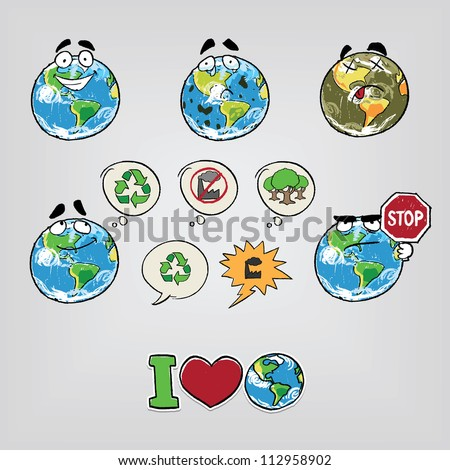 Cartoon illustration Earth - stock vector