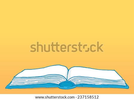 Cartoon illustration education background with blank open book