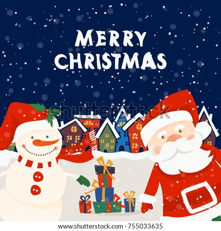 cartoon illustration for holiday theme with santa claus and snowman on winter background greeting card - Snowman Santa