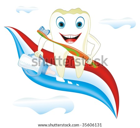 Cartoon illustration from teeth care concept, funny colt's tooth with feeding-bottle placed on toothpaste. - stock vector