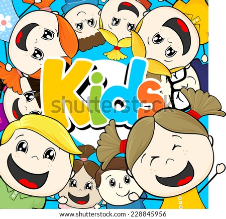 cartoon illustration group of little happy childs - stock vector
