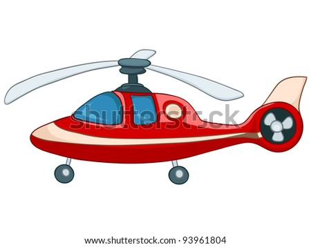 Cartoon Illustration Helicopter Isolated on White Background. Vector. - stock vector