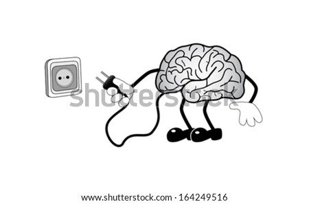 Cartoon illustration human brain with socket, vector - stock vector