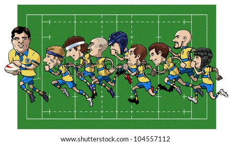 Cartoon illustration - Nine rugby players running - Grass field on the background - stock vector