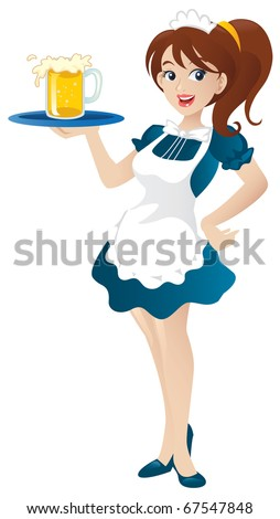 Cartoon illustration of a beautiful sexy waitress standing and holding a round tray. - stock vector
