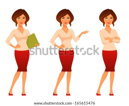 cartoon illustration of a beautiful young woman in casual clothes - stock vector